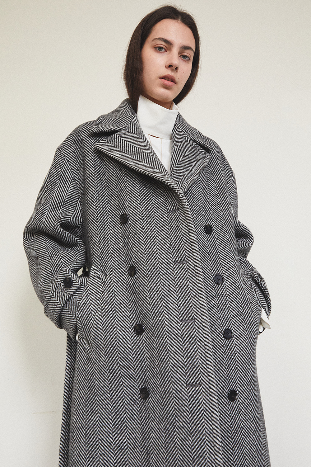 HANDMADE DOUBLE COAT [HERRINGBONE] - 자체브랜드 - 기본트렌드