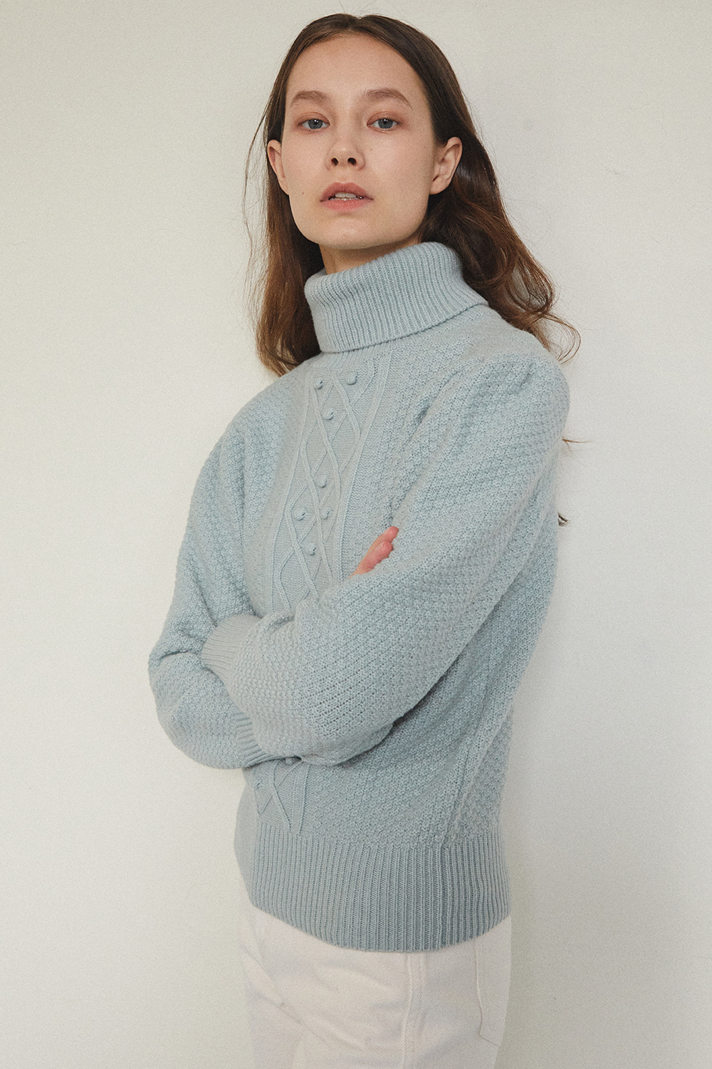 GRANDMA CASH TURTLE NECK [GREY MINT] - 자체브랜드 - 기본트렌드